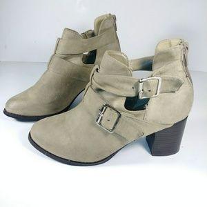 Dots faux suede beige open slit heeled boost